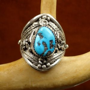 J-19 Navajo Turquoise Ring Sterling size 14.25 sign E $300.00