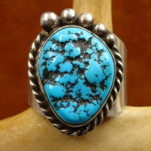 J-23 Navajo Bisbee Ring Sterling 12 Size Sign JRW $250.00