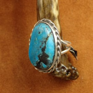 J-25 Navajo Turquoise Ring Size 8 .925 $250.00