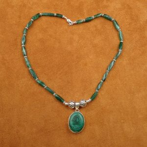"J-33 Malachite 16"" Necklace .925 $100.00"