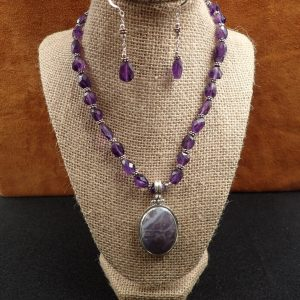 "J-35 Amethyst 16"" Necklace Set .925 $150.00"