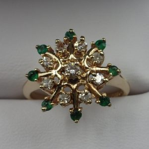 J-40 Emerald Diamond Ring 14kt size 7 $350.00