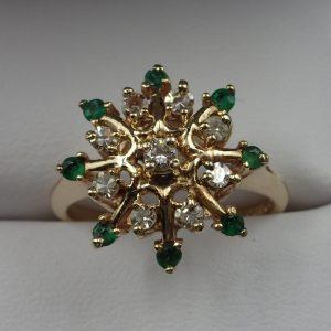 J-40 Emerald Diamond Ring 14kt size 7 $350.00