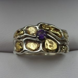 J-42 Sterling Gold Nuggets Amethyst size 7 $150.00