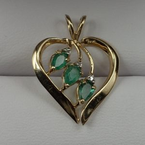 J-45 Emerald Diamond 10kt Gold Pendant $180.00