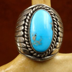 #J-18 Navajo Turquoise Ring Size7 Sterling $225.00
