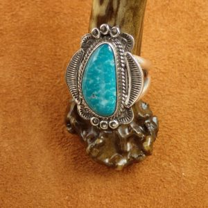 J-26 Navajo Turquoise Ring Size 8 Sign $250.00