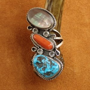 J-27 Turquoise Coral Mother Sterling Ring sign 9 $300.00