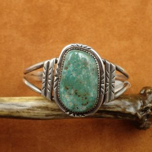 """J-31 Navajo Green Turquoise 7""""Bracelet sign J Sterling $520.00"""