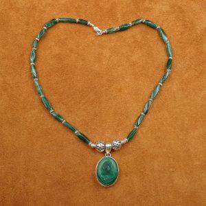 """J-33 Malachite 16"""" Necklace .925 $100.00"""