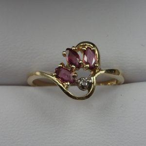 J-41 Ruby Diamond Ring 10kt size 6.5 $150.00