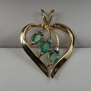 J-45 Emerald Diamond 10kt Gold Pendant $180.00